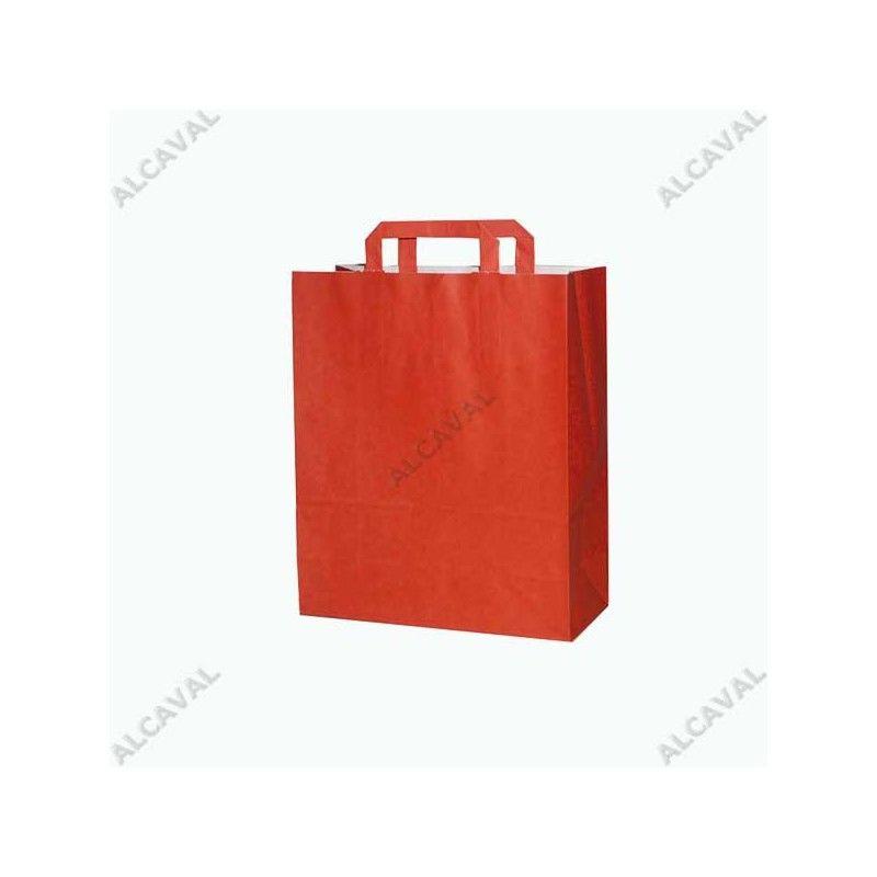 Bolsa de papel roja, asa plana color rojo