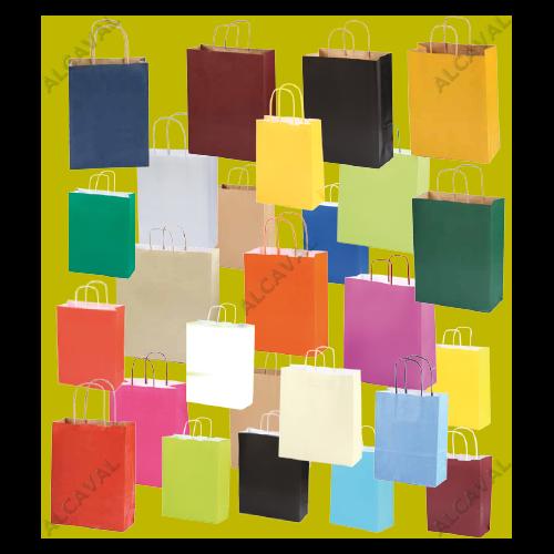 600 Bolsas de papel medianas grabadas asa retorcida  24x32+11