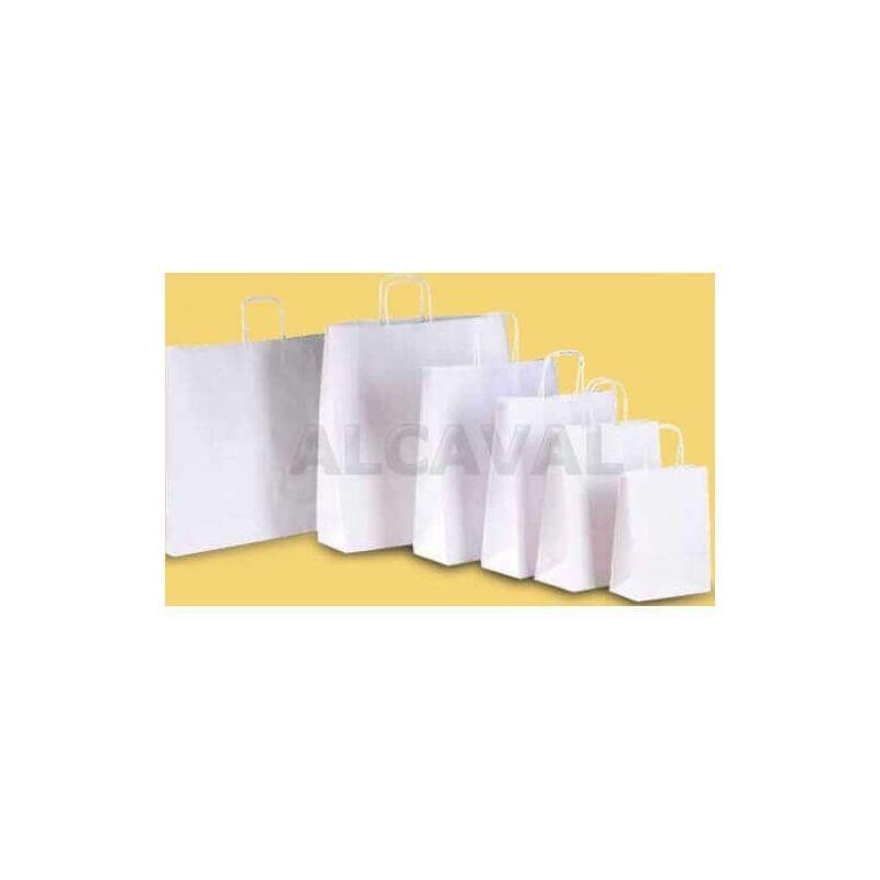 Bolsa de papel blanco, asa retorcida blanca