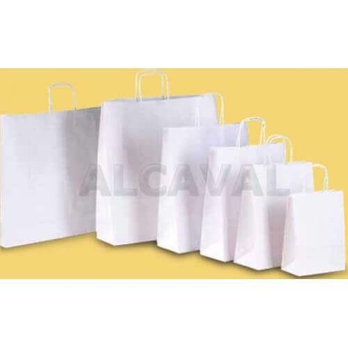 Bolsa de papel blanco con asa retorcida blanca