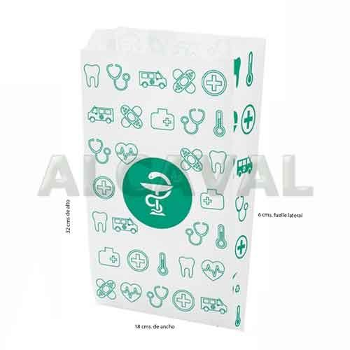 Sobre de papel grande farmacia 18x32+6 Hth (Caja de 1000) con iva incluido
