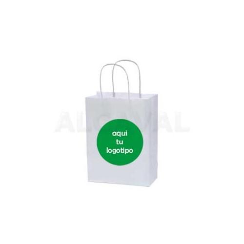 Bolsas de papel asa retorcida plata con impresión