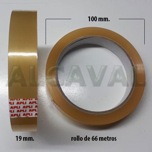 96 Rollos de cinta adhesiva transparente , celo marca apli 19 mm. de ancho por 66 metros