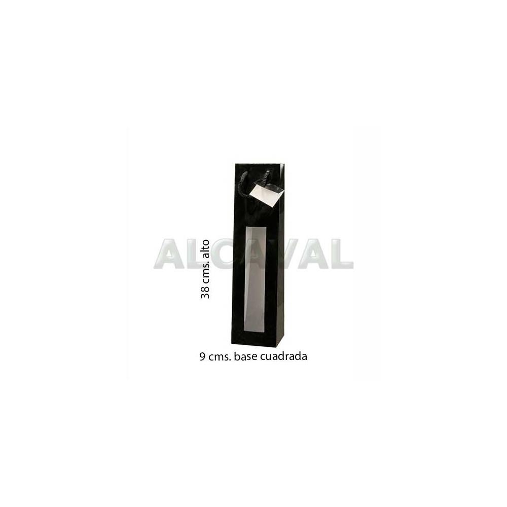 0e6e646c3 bolsas para botellas de vino color negra con ventana