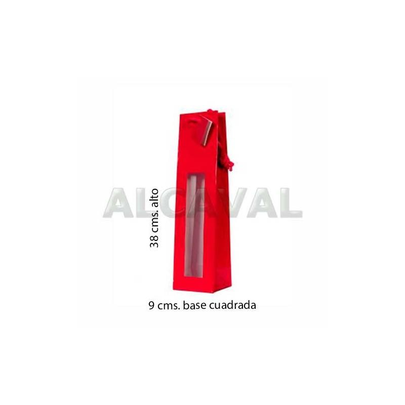 bolsas para botella roja con ventana