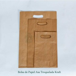 Bolsa de papel asa troquelada de papel color kraft