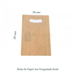 Bolsa de papel asa troquelada de papel color kraft