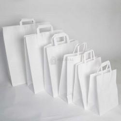 Bolsa de papel blanca con asa plana de color blanco