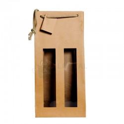 Bolsas de papel para 2 botellas grandes de 18 x 8,8 x 38 centímetros.