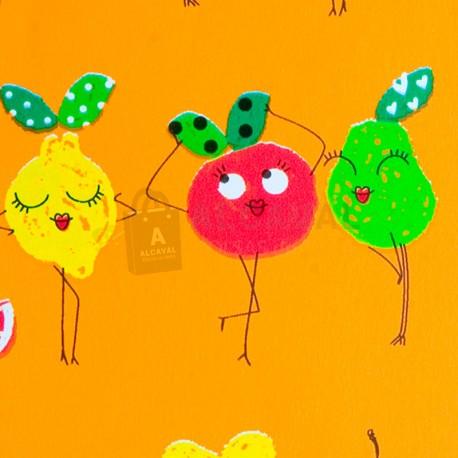 papel regalo infantil frutas