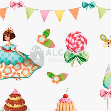 papel de regalo infantil tartas y dulces