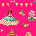 Papel regalo infantil ninas pasteles y tartas con fondo fuxia