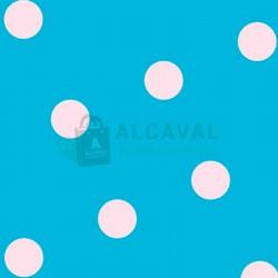 papel de regalo azul claro con lunares