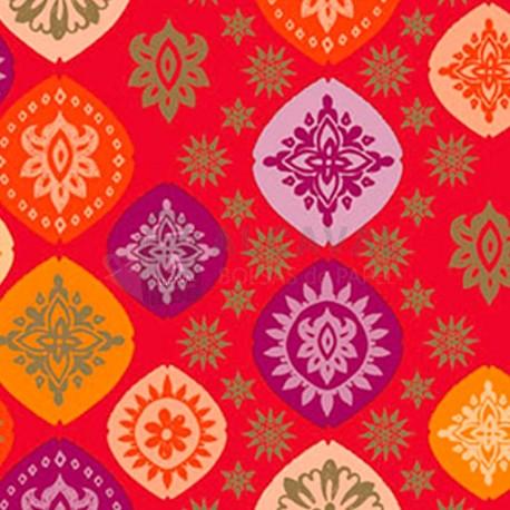 papel de regalo rojo con estrellas
