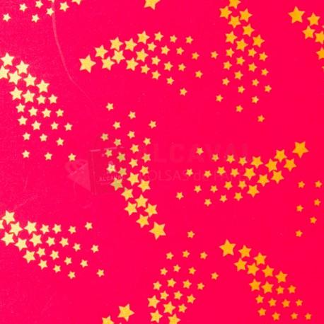 Papel para regalos rojo con estrellas doradas