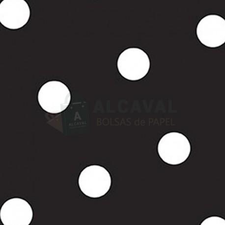 Papel para regalo negro lunares blancos