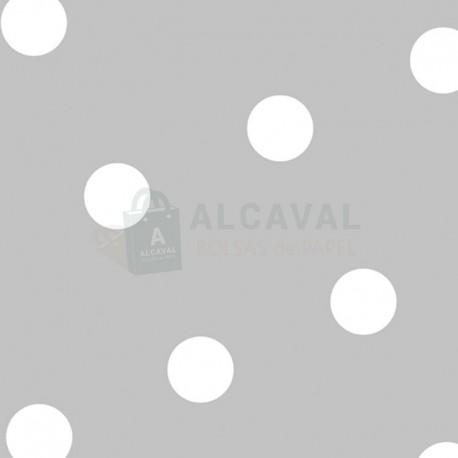 Papel regalo plata con lunares blancos