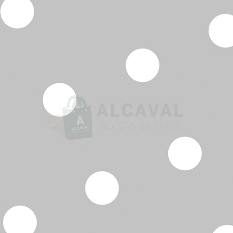 26018879aeb0 Papel de regalo plata con círculos en color blanco para envolver