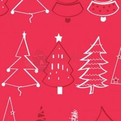 Papel de regalo rojo navidad con arboles