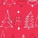 Papel para regalos arboles navidad rojo