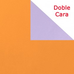 Papel regalo bicolor naranja y lila, rollo de 50 o 100 metros.