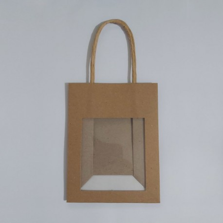 Bolsa de papel mini con ventana transparente