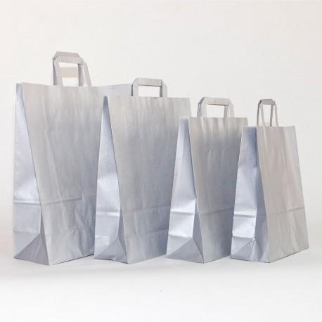 Bolsa de papel plata, asa plana plata