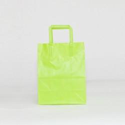 Bolsa de papel verde pistacho asa plana