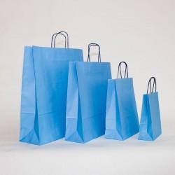 Bolsa de papel azul celeste, asa retorcida azul