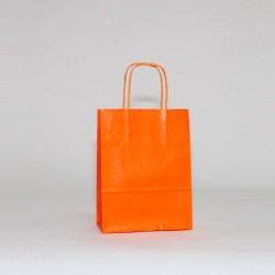 Bolsa de papel Naranja, asa retorcida naranja