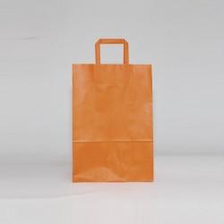 Bolsa de papel naranja, asa plana
