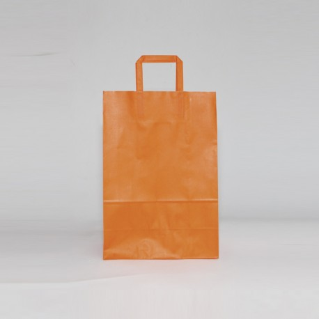 bolsa de papel naranja con asa plana