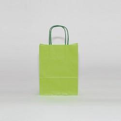 Bolsa de papel verde pistacho, asa retorcida verde