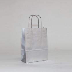 Bolsa de papel plata, asa retorcida plata