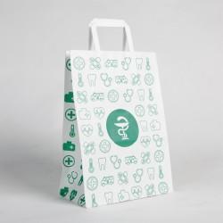 Bolsas de papel farmacia con asa plana 20x11x28 centímetros