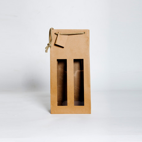 Bolsas de papel para 2 botellas pequeñas 14x7x31 cms.