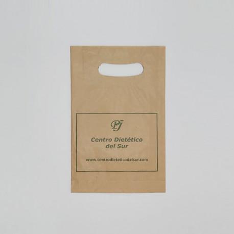 bolsa papel asa troquelada kraft pequena