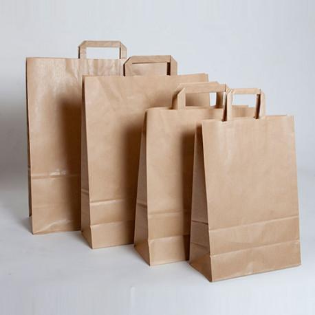 Bolsas de papel kraft con asa plana impresas