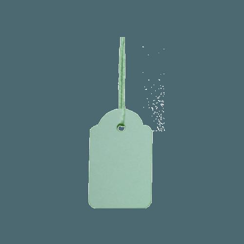 Etiquetas colgantes (cartulina blanca con hilo), marca apli