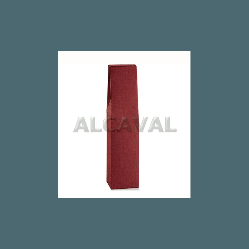 Caja para 1 botella de vino, color granate (Burdeos) de 9 x 9 x 37 centímetros.