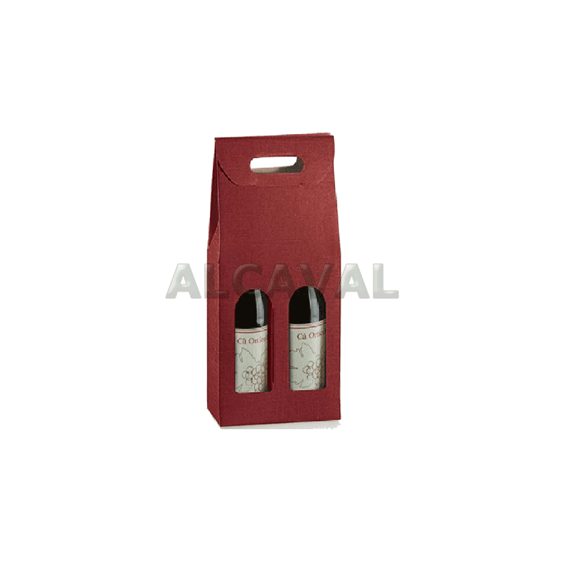Caja para 2 botellas de vino, color granate (Burdeos) de 18 x 9 x 38 centímetros.