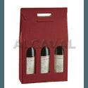 Caja para 3 botellas de vino, color granate (Burdeos) de 27 x 9 x 38 centímetros.