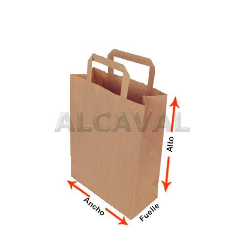 como medir las bolsas de papel con asa plana