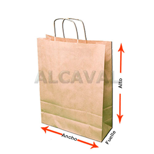 como medir las bolsas de papel con asa retorcida o rizada